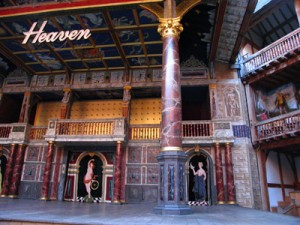 Stage of Shakespeare's Globe Theatre, set of Dr Faustus